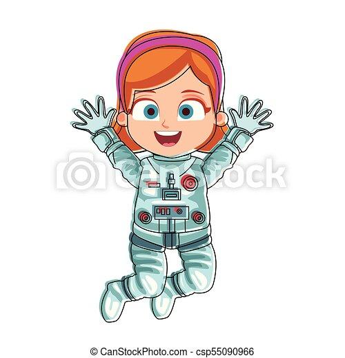 Astronaut girl cartoon - csp55090966
