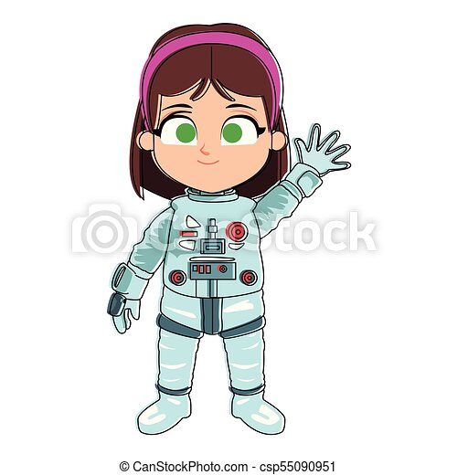 Astronaut girl cartoon - csp55090951