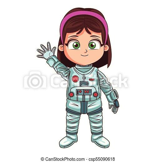 Astronaut girl cartoon - csp55090618
