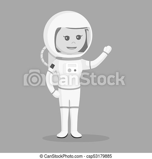Astronaut girl giving greeting - csp53179885