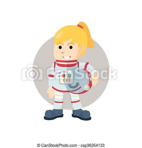 Astronaut girl illustration - csp36354133