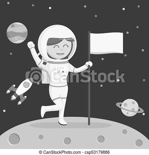 Astronaut girl moon landing - csp53179886
