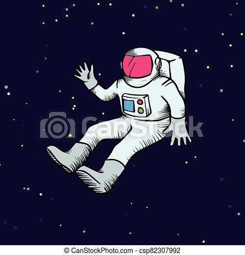 Astronaut hand drawn sketch vector illustration - csp82307992