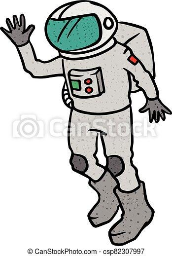 Astronaut hand drawn sketch vector illustration - csp82307997