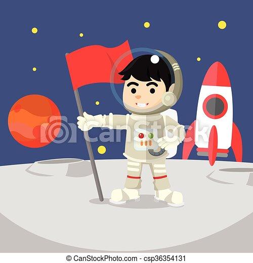 Astronaut holding flag on moon  - csp36354131