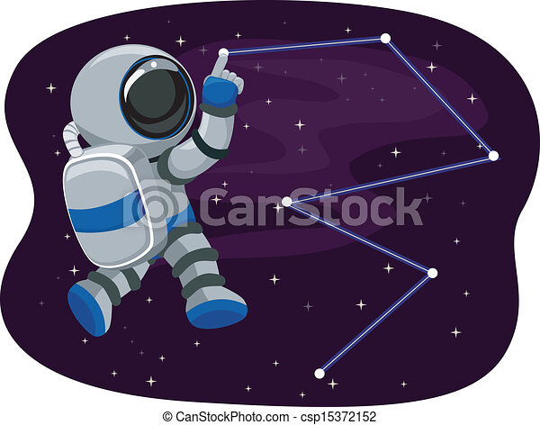 Astronaut in Space tracing Stars - csp15372152