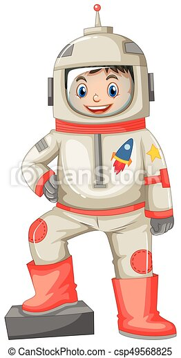 Astronaut in spacesuit on white background illustration.
