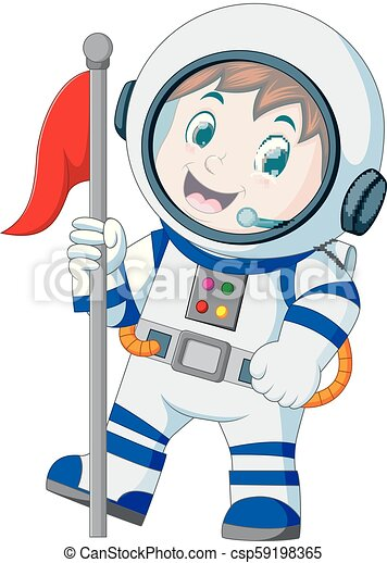 Astronaut in white spacesuit on white background - csp59198365