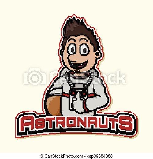 astronaut logo illustration design - csp39684088