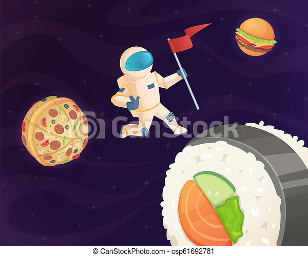 Astronaut on food planet. Fantasy space world with candy fast food burger pizza and various sweets stars fantastic sky vector background - csp61692781