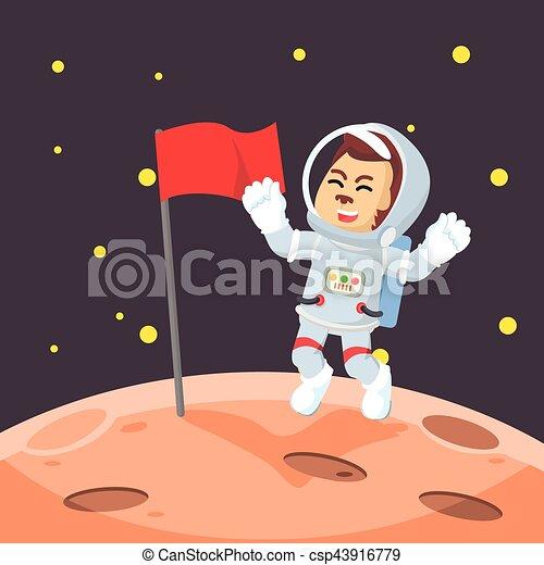 astronaut putting flag on moon - csp43916779