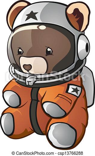 Astronaut Teddy Bear Cartoon - csp13766288