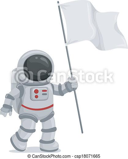 Astronaut Waving Flag - csp18071665