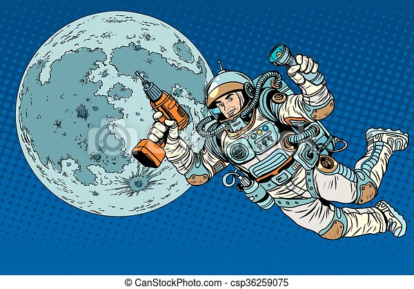 Astronaut with a drill and flashlight on the Moon - csp36259075