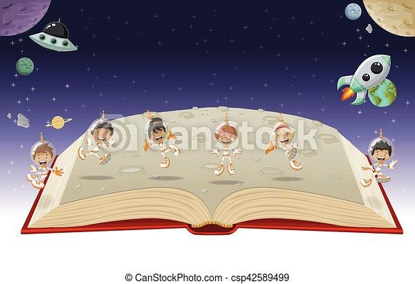 Astronauta libro aperto cartone animato bambini space