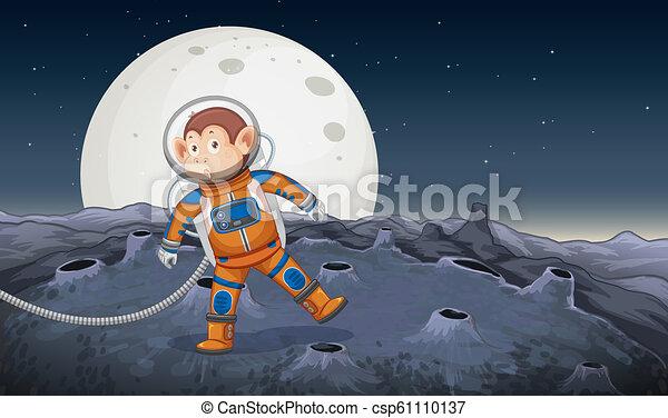 Un mono astronauta en el espacio - csp61110137