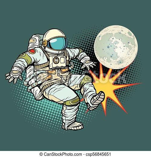 astronaute, football, jeux, lune - csp56845651