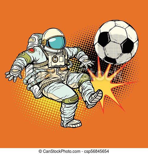 astronaute, football, sport, jouer, football. - csp56845654