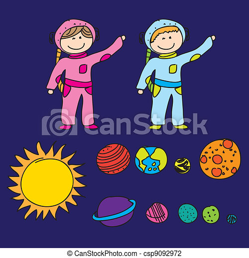 astronauts with planets - csp9092972