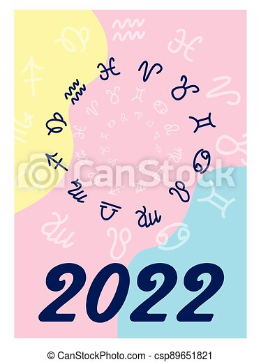 Zodiac Calendar 2022.Astronomical Starry Minimalist And Modern 2022 Calendar Design With Zodiac Signs Week Starts On Sunday Name Of The Month Canstock