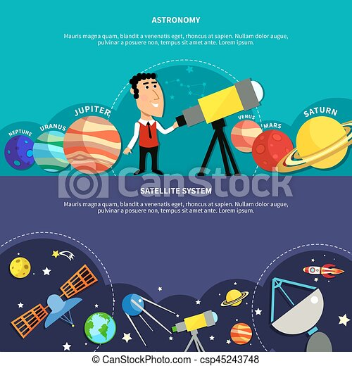 Astronomy Banners Set - csp45243748