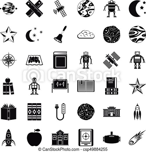 Astronomy Exploration Icons Set Simple Style