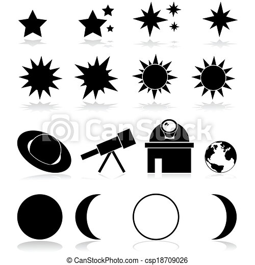 Astronomy Icons Set Showing Different Related Vector