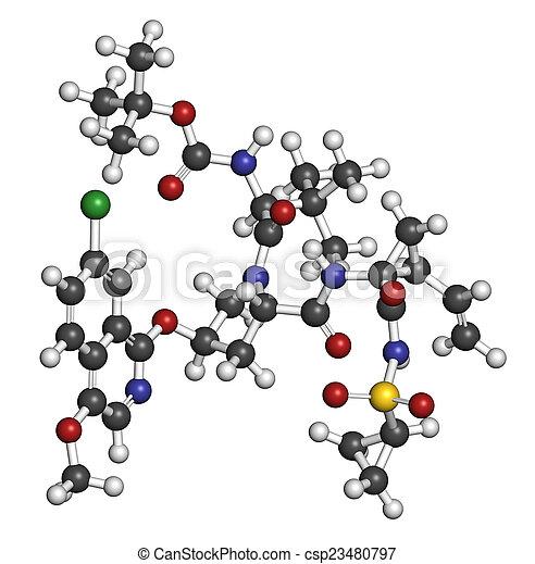 Asunaprevir hepatitis C virus (HCV) drug molecule. Atoms are rep - csp23480797