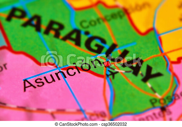 Asuncion capital city of paraguay on the map Paraguay and stock
