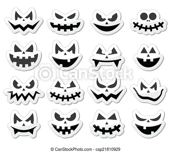 Asustadizo, calabaza, caras, halloween, iconos. Conjunto, iconos ...