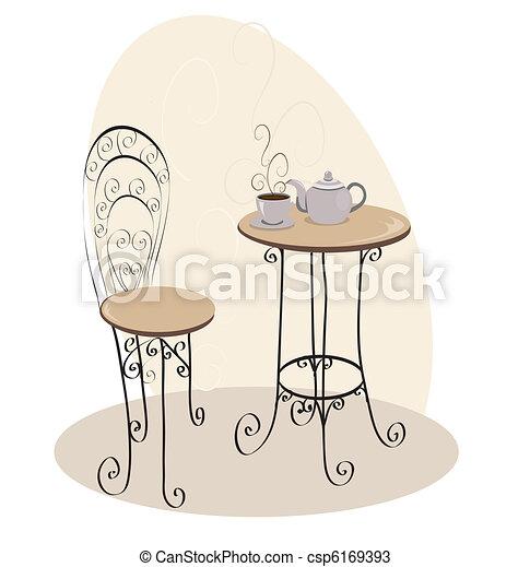 asztal, kávéház, francia - csp6169393