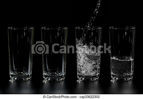 at four glass clean water is poured - csp33622302