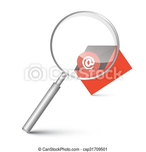 At Sign in Red Envelope - Email Icon with Magnifying Glass Vector Illustration - csp31709501