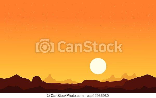 at sunrise desert scenery background collection vector art rh canstockphoto com Sunset Clip Art Mountain Sunrise Clip Art