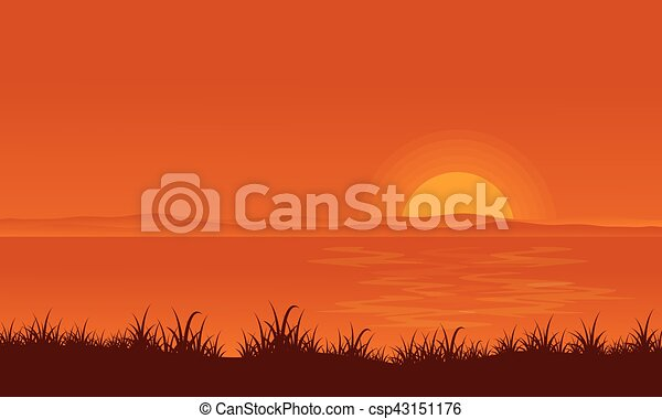 At Sunset Lake Scenery Backgrounds