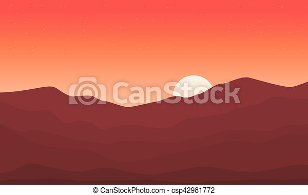 At Sunset Mountain Scenery Backgrounds