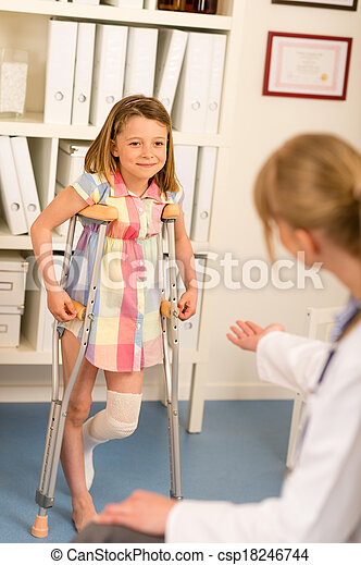 At the pediatrician little girl with crutches - csp18246744