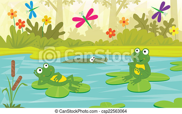 at the pond two cute frogs are sitting on water lilies and looking rh canstockphoto com clipart panda dog clipart panda