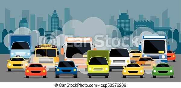 Vehículos en camino con contaminación de tráfico - csp50376206