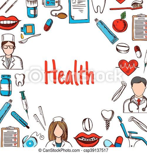 Atención sanitaria, bosquejo, estilo, bandera, odontología. Dibujos ...