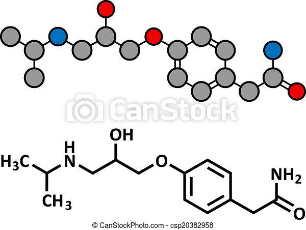 Atenolol hypertension or high blood pressure drug (beta blocker), chemical structure. - csp20382958