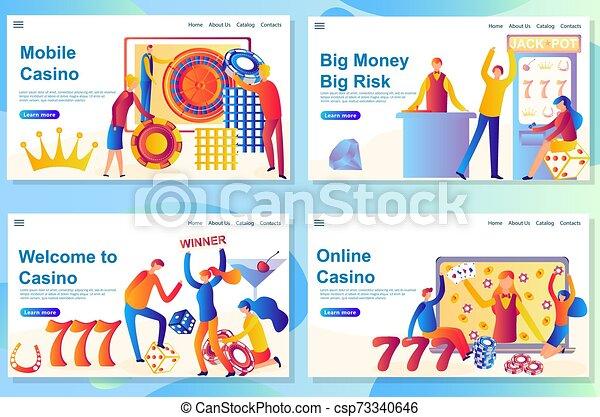 aterrizaje, casino, victoria, diseño telaraña, theme., plantilla, grande, página, riesgo - csp73340646