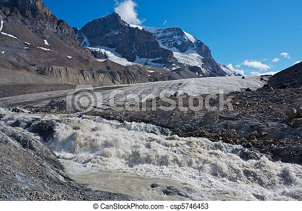 Athabasca Glacier with melt water 03 - csp5746453