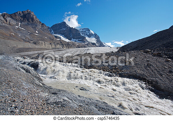 Athabasca Glacier with melt water  - csp5746435