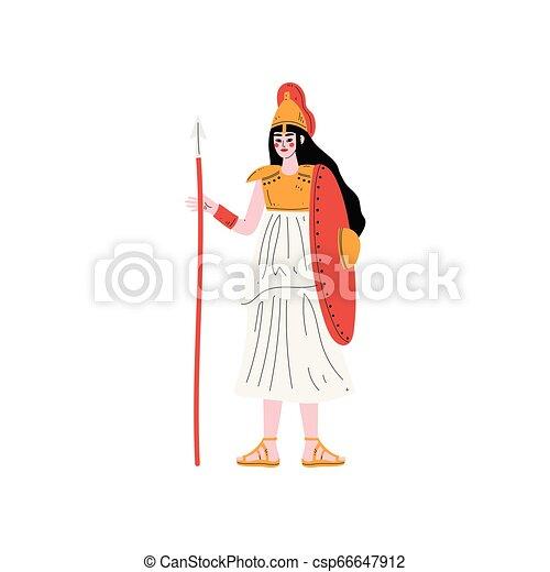 Athena Olympian Greek Goddess, Ancient Greece Mythology Hero Vector Illustration - csp66647912