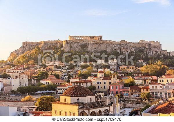 Athens, Greece. Acropolis rock and Monastiraki square early in the morning - csp51709470
