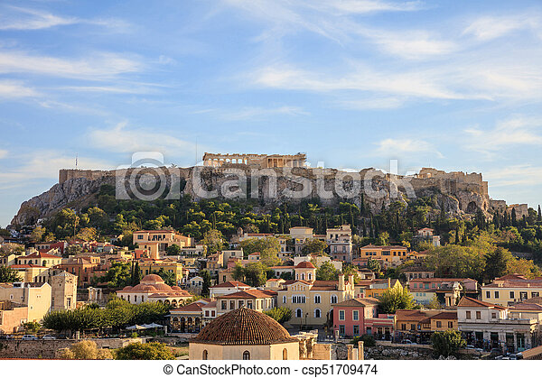 Athens, Greece. Acropolis rock and Monastiraki - csp51709474