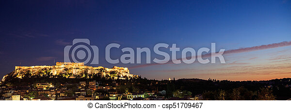 Athens, Greece. Acropolis rock and Plaka - csp51709467