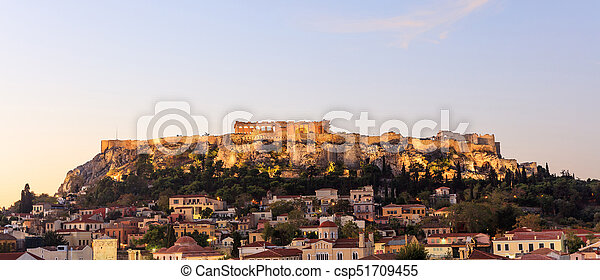 Athens, Greece. Acropolis rock and Plaka early in the morning - csp51709455