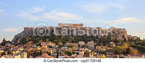 Athens, Greece. Acropolis rock and Plaka - csp51709148